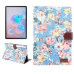 Flower Cloth Skin Wallet PU Leather Tablet Cover for Samsung Galaxy Tab S6 SM-T860 (Wi-Fi) /SM-T865 (LTE) – Blue