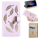 Leaf Pattern Flip Leather Wallet Phone Case for Samsung Galaxy A40 – Purple
