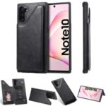 PU Leather + TPU Cover Phone Case with Dual Card Slots for Samsung Galaxy Note 10/Note 10 5G – Black