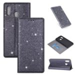 Flash Powder Stand Leather Card Holder Case for Samsung Galaxy A20e – Black