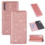 Flash Powder Leather Stand Case with Card Slot for Samsung Galaxy A50 – Rose Gold
