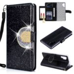 Glittery Powder Rhinestone Splicing Wallet Mirror Leather Case for Samsung Galaxy Note 10 Plus/Note 10 Plus 5G – Black