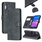 Wallet Leather Stand Shell Case for Huawei Y6 (2019, with Fingerprint Sensor)/Y6 Pro (2019)/Honor 8A/Enjoy 9e (with Fingerprint Sensor) – Black