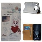 Pattern Printing PU Leather Wallet Stand Phone Casing for Huawei Mate 30 Pro – Cat Holding Heart