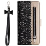 Lace Flower Pattern Zipper Pocket Leather Wallet Phone Cover with Bowknot Lanyard for Huawei P30 Pro – Black