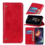 Crazy Horse Skin Surface Leather Shell for Motorola Moto E6 Plus – Red