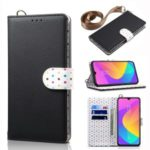 Retro Dots Skin Leather Cover with Strap for Xiaomi Mi CC9e / Mi A3 – Black