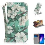 Pattern Printing Leather Wallet Cover Case with Strap for Xiaomi Redmi Note 8 – Flower and Leaf