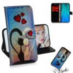 For Xiaomi Redmi Note 8 Pro Pure Color Dazzaling Leather Cell Case with Strap – Cat and Hearts