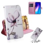 Pattern Printing PU Leather Wallet Phone Cover for Xiaomi Redmi Note 8 – Flower