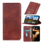 Litchi Skin Auto-absorbed Split Leather Cell Casing for Xiaomi Redmi Note 8 – Brown