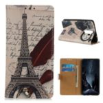 Printing PU Leather Phone Casing for Xiaomi Redmi Note 8 Pro – Eiffel Tower and Letters