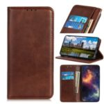 Auto-absorbed Split Leather Wallet Casing Cover for Xiaomi Redmi Note 8 Pro – Coffee