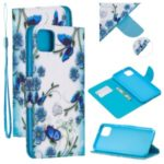 Pattern Printing Leather Wallet Case for Google Pixel 4 XL – Blue Flower and Butterfly