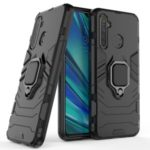 Plastic + TPU Hybrid Case with Ring Holder Kickstand for OPPO Realme 5 Pro – Black