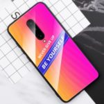 Cool Letters Pattern Tempered Glass PC TPU Hybrid Case for OnePlus 7 Pro – Rose