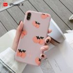 Persimmon Avocado Pattern Printing Candy Color Soft TPU Phone Casing for iPhone X – Pink