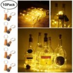 Copper Wire Solar Energy Red Wine Bottle IP65 Waterproof LED Light String Festival Decor [10pcs/pack, with screw] – Warm White