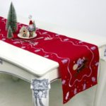 Christmas Tablecloth 180×40cm Santa Claus Embroidery Dinner Table Flag Cover – Red