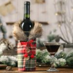 Button Coat Design Cloth Christmas Decorations Wine Bag Christmas Bottle Cover – Plaid