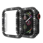 Single Row Rhinestone Decor PC Watch Cover for Apple Watch Series 4 40mm – Black