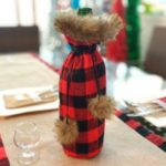 Plaid Cloth Christmas Decorations Wine Bag Christmas Wine Bottle Set – Red