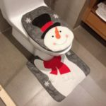 2Pcs/Set Christmas Pattern Toilet Seat Cover + U Shape Mat Bathroom Decoration Products Set – Snowman