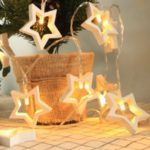 Wooden Star Love Tree Shape Strip Lights Valentines Wedding Christmas Decoration LED Lamp String – Star