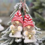 2PCS/Set Xmas Elderly Child Knitted Doll Pendant Christmas Tree Hanging Ornaments – With Bell