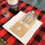 Christmas Burlap Lace Utensil Holder Silverware Cutlery Pouch Knife Fork Bag – Snowflake