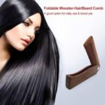 Foldable Hair Comb Portable Wooden Comb Massage Hairbrush