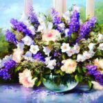 DIY 5D Diamond Painting Bunch Flowers Rhinestone Embroidery Full Drill Gem – Purple
