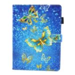 Patterned PU Leather Stand Tablet Case for Apple iPad 10.2 (2019) – Gold Butterfly