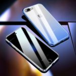 R-JUST Anti-spy Front Tempered Glass + Gradient Color Back Tempered Glass + Aluminium Alloy Frame Phone Case for iPhone 8 Plus 5.5-inch – Blue
