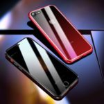 R-JUST Anti-spy Front Tempered Glass + Gradient Color Back Tempered Glass + Aluminium Alloy Frame Phone Case for iPhone 8 / 7 4.7 inch – Red
