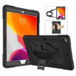360° Swivel Handy Strap PC Silicone Kickstand Tablet Case with Shoulder Strap for Apple iPad 10.2 (2019) – Black