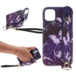 Pattern Printing Hand Strap Stand Protective PC Phone Case for iPhone 11 6.1-inch – Purple