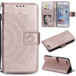 Imprint Flower Leather Wallet Phone Casing for iPhone 6 Plus / 6s Plus 5.5-inch – Rose Gold