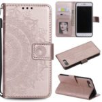 Imprint Flower Leather Wallet Phone Cover for iPhone 8/7 Plus 5.5 inch – Rose Gold
