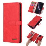 MEGSHI PC+ PU Leather + TPU Wallet Flip Business Case with Strap for iPhone 11 Pro Max 6.5 inch (2019) – Red