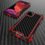 R-JUST ShocKproof Carbon Fiber Texture Silicone + Metal Combo Shell for iPhone 11 Pro 5.8 inch (2019) – Black/Red