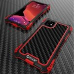 R-JUST ShocKproof Carbon Fiber Texture Silicone + Metal Hybrid Case for iPhone 11 6.1 inch (2019) – Black/Red