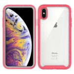 Anti-shock TPU + Plastic + Acrylic Hybrid Clear Back Case for iPhone XS Max 6.5 inch – Red