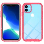Anti-shock TPU + Plastic + Acrylic Hybrid Clear Back Case Cover for iPhone 11 6.1 inch – Red