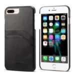 PEELCAS PCK012 Series Dual Card Holders Leather Coated PC Hard Shell for iPhone 8/7 Plus 5.5 inch – Black