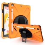 360 Degree Swivel Kickstand PC + Silicone Hybrid Case with Hand Holder Strap and Pen Slot for iPad 10.2 (2019) – Orange
