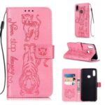 Imprint Tiger Leather Wallet Stand Mobile Phone Cover Case with Lanyard for Samsung Galaxy A10s – Pink