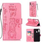 Imprint Tiger Leather Wallet Stand Mobile Phone Cover Case with Lanyard for Samsung Galaxy A20s – Pink