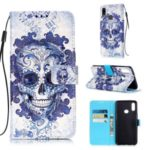 Light Spot Decor Pattern Printing Leather Wallet Stand Phone Cover for Samsung Galaxy A10s – Purple Skull