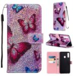 Pattern Printing Glitter Sequins Leather Wallet Case for Samsung Galaxy A20s – Butterfly